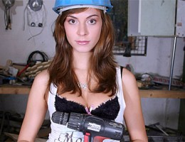 Brunette hottie enjoys senior cock inside her tight pussy