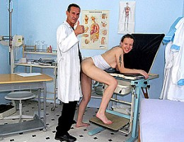 Young babe fucking a senior doctor with a big dick hard