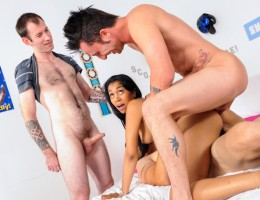 3 horny frat guys show her how to DP and fuck a hot ass