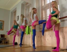 Cherry Kiss & Ivana Sugar Streching Out In Thigh High Socks