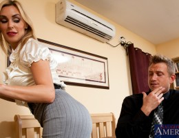 Busty blond Tanya Tate Takes care of her neighbor by sucking his cock and a mind blowing fuck.