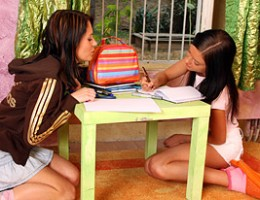 Two very horny teen lesbian girls pleasuring each other