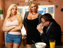 Summer Brielle doesn\'t get along with her sexy stepmom Leigh Darby, who she thinks is just a gold digging bitch. But when that busty MILF catches Summer giving a blowjob to her boyfriend Keiran, she makes Summer a deal: share Keiran\'s fat dick with her,