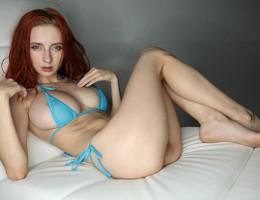 Skinny Rusian girl Helga Grey in blue bikini