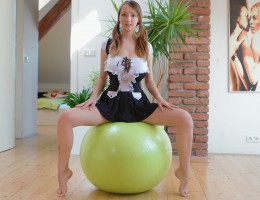 Ball jumping with big-breasted 18yo schoolgirl