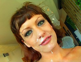 Cute brunette gives head to a bunch of guys and gets facialized
