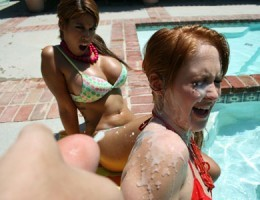 Redheaad cum whore eats cum out of a dirty bowl!