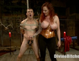 Mz. Berlin breaks in newcomer Jake Jammer. Cannonball suspension, whipping, flogging, single tail, pegging, fucking, tease and denial.