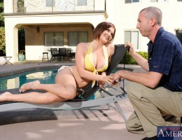 Busty Krissy Lynn is out sunbathing by her friend\'s pool when her friend\'s boyfriend, Jordan, drops by. He invites her into the house and helps her out with the small sun burn she has on her chest. He rubs lotion all over her chest and Krissy gl