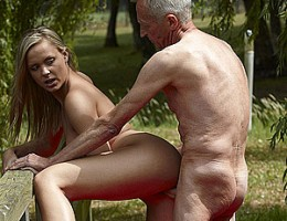 Yoga performing horny old senior fucks a willing blonde