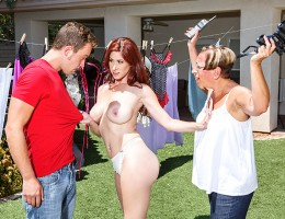 Ever since she moved in next door, busty MILF Tiffany Mynx has been driving Van\'s mom insane by walking around her yard in skimpy little outfits that show off her juicy butt and big tits. When she sends Van over to ask her to cover up, though, Tiffany de