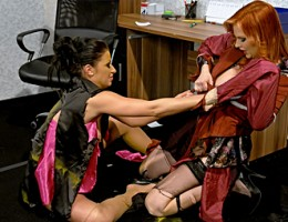 Two strange lesbian cuties cutting up their only wardrobe