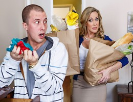 When busty MILF Brandi Love got home from doing the groceries, she called and called for her stepson Jessy Jones to comes help her out, but the little troublemaker was nowhere to be found. She searched all over the whole house, and when she finally found