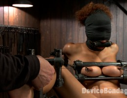 Big natural tits, sensory deprivation, chain suspension, nipple torment, pussy fucking, pussy torment, screaming orgasms!!