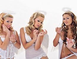 Hot lesbian affair with three horny angels
