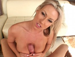 Hot blonde sucks a horny cock til it cums in this POV scene