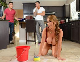 Clover was over at his buddy\'s place when he noticed that dude\'s mom, Kianna Dior, was a super busty Asian MILF! When Kianna sent her son out to get some dinner, Clover put some time in helping her clean around the kitchen. That busty MILF was so gratef