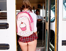 Every day, bus driver Tommy Gunn watches the school slut Brooke Wylde showing off her ass and titties to all the horny dudes on the bus. One day, after seeing her shake her big tits for a couple of the guys in the back, he decides he\'s finally had enough