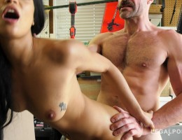 Extra hot Latina babe Maya Bijou rides mechanic\'s veiny dick in garage GP804