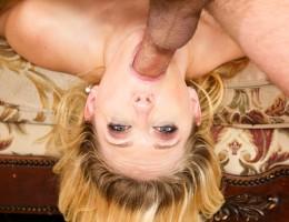 Blonde Kagney gives a big slurpy deepthroat blowjob