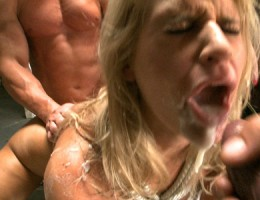 This crazy cum-loving slut sucks cock, gets fucked and takes a huge load in the mouth!