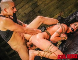 The sexy (and bisexual) Esmi Lee, usually a Fetish Network lesbian dominatrix, is back for more sex slave training and a good round of rough sex! Esmi Lee agreed to an anal sex shoot and wants to be wrecked! She will also endure rope bondage, spanking, sl