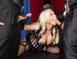 You just have to know where your talents are. Britney Amber was trying to be a magician, but she just isn\'t cut out for it. A couple hecklers save the day by telling her she could put on a better show just flashing her big tits. Britney strips down and e