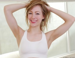 Staying in shape and flexible is important to 20 year old American bombshell Emma Scarlett. Her toned body is always horny, and she\'s never shy about playing with her rock hard nipples and small boobs or about dropping her hands lower to deliver a finger