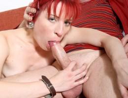 Naughty redhead girl pleasing a senior his stiffy penis