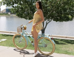 Going for a bare bottom bike ride is the perfect foreplay for hairy pussy coed Avi Love. The breeze beneath her miniskirt gets her nice and wet leaving her hot as hell for a good fuck. When she reaches Kyle Mason\'s house, she peels off her dress and mast