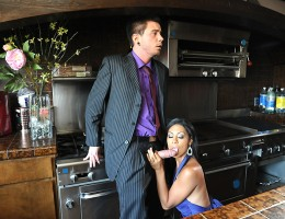 Cassandra Cruz\'s husband Tommy is having a dinner party with some of his employees, and when he won\'t stop telling embarrassing stories, his smoking hot Latina wife Cassandra Cruz gets a little pissed off. She slips a little something into his drink to
