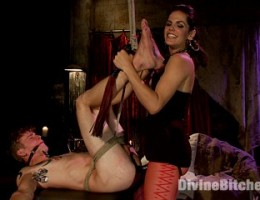 Mistress Bobbi Starr looks exquisitely dominates cute slaveboy with intense pain and humiliation.