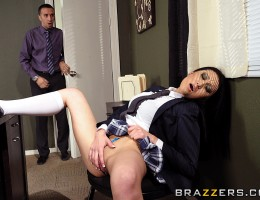 Keiran walks in on Jayden flicking her bean and is understandably flustered. Jayden senses this and decides to relish in his embarrassment by ordering him to fuck the very pussy he was ogling.