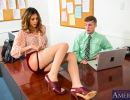 Heather Vahn stops by her husband\'s office to check up on him. He\'s not in the office and neither is his secretary. When Heather calls him up he lies about being in the office. Heather is convinced that her husband is fucking his secretary so she decide