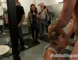 Horny slut dragged into a crowded salon filled with hot models. Whore gets fucked in the ass and made to lick her own cum from the floor.