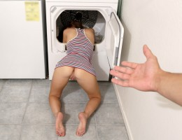 Bambino is stuck behind the washing machine, and instead of helping her stepbrother out Nina Nirvana laughs and takes pictures. She puts her pussy in his face, then leaves him there to wait until their parents get home. The next morning when Nina is doing