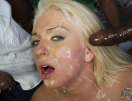 A blowbang movie with the recipe of a horny white girl mixed in with several black guys