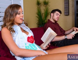 Alexis Adams is reading a hot and steamy romance book in the secluded part of the library when she notices that Gavin wanders by the area. Alexis is super horny after reading the book and just wants a fat dick inside of her. Luckily, she is in the seclude