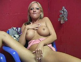 Sophia sucks off black dick in gloryhole cumplay