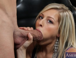 Hot blonde babe gets to fuck her trainer and loves to suck his cock.