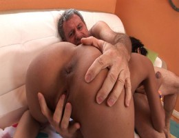 Young bitch wants to choke on old man cum - gets her wish