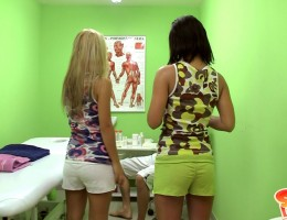 Watch teen Sabrina in a very hot threesome action