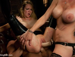 Extreme pain play and dominating anal sex threesome.