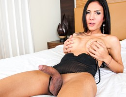 Beautiful Asian shemale strokes her big cock until she cums.