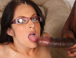 Hot brunette interracial fuck gangbang eats cum