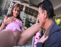 Hot pink dress latina sucks and fucks old gardener dude