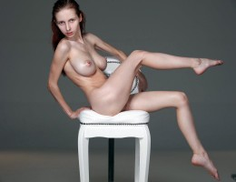 Skinny beauty Helga Grey oiled up and naked