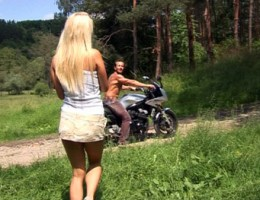 Young blondie gets seduced to fuck with a horny biker stud