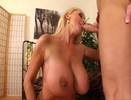 Blond MILF With Huge Tits Eats Young Guys Ass