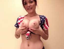 Hey guys! I am back with a brandy new HD video that I jsut shot specifically for 4th of july and I think you are really going to like it. It's so life-like you will think I am in the room with you, shaking and oiling up my big tits! ;-)